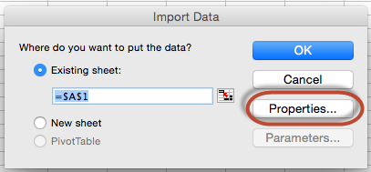 Text file import properties.