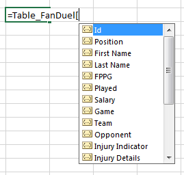 Excel Type Ahead Field Names