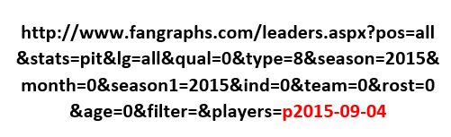 Fangraphs probable starting pitchers URL.
