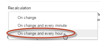 Recalculation settings, recalculate on change and every hour.