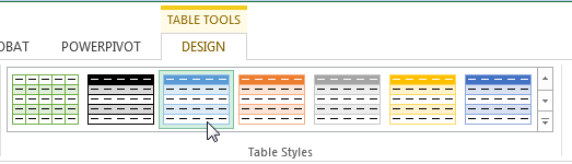 Change Excel table color.