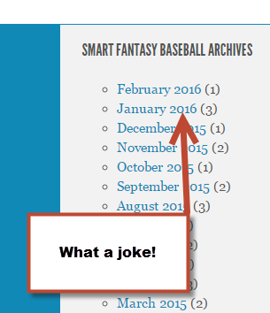 What awful fantasy baseball site posts only four times leading up to draft season???